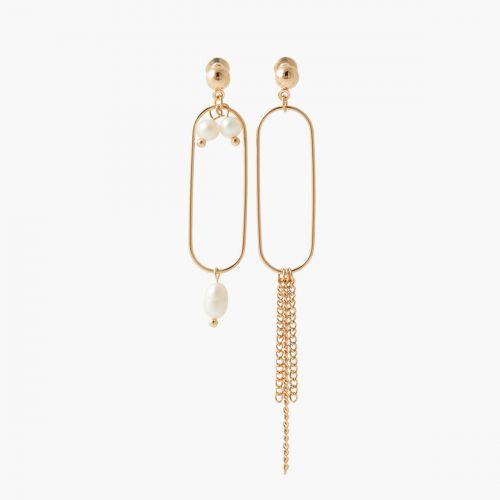 Boucles d'oreilles asymétriques chaines et perles d'imitation New pearl