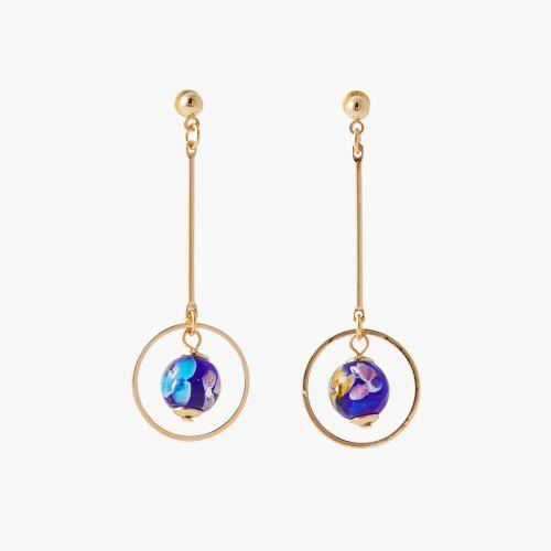 Boucles d'oreilles bleues/dorées Printed petals