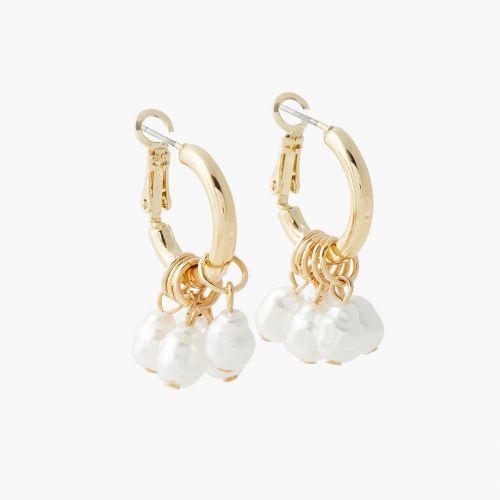 Mini créoles à perles d'imitation New pearl