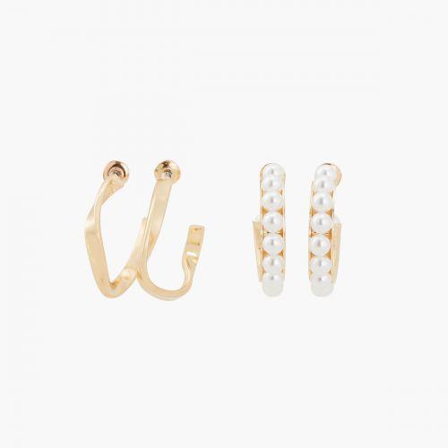Set de créoles doré et perles d'imitation New pearl