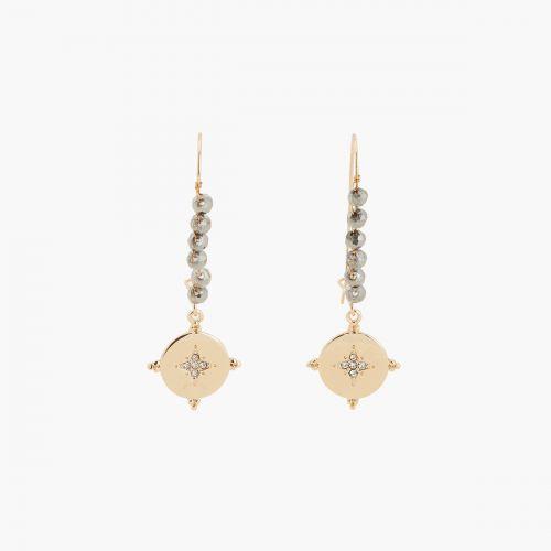 Boucles d'oreilles pendantes grises Lucky stone
