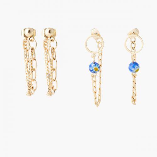 Set de boucles d'oreilles pendantes doré Mineral mix