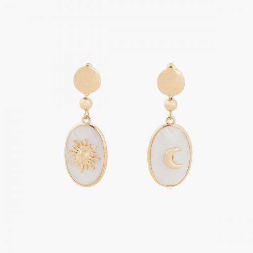 Boucles d'oreilles pendantes blanches Lucky stone