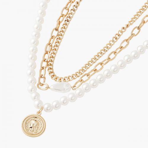 Set de colliers doré et perles d'imitation New pearl
