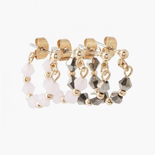 Set de boucles d'oreilles perles facettées grises/roses Basic Nude