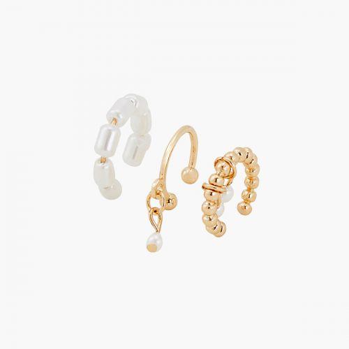 Set de 3 bijoux d'oreilles à perles d'imitation New pearl