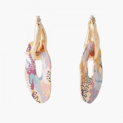 Boucles d'oreilles pendantes multicolores Printed petals