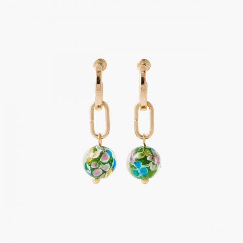 Boucles d'oreilles perles vertes Pastel