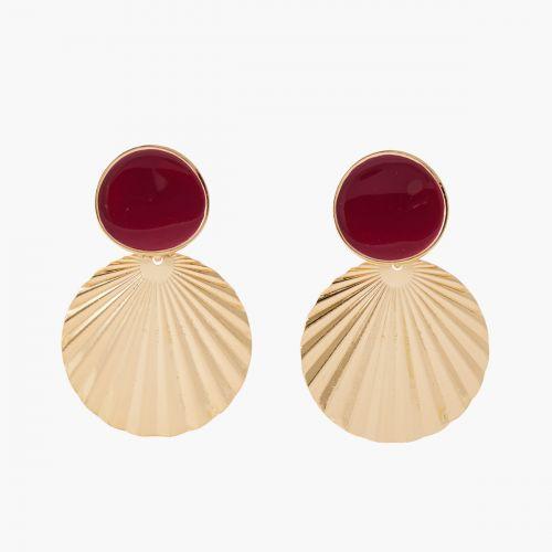 Boucles d'oreilles médaille rouge/doré Bar à clips