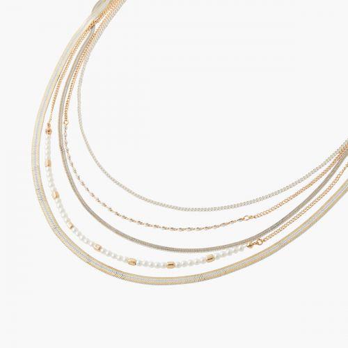 Collier multirangs doré/argenté New pearl