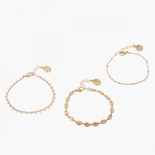 Set de bracelets fins doré Paris wtih love