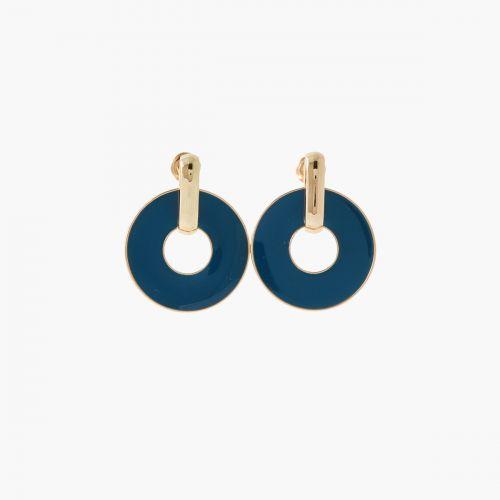 Boucles d'oreilles anneaux bleus Paris with love