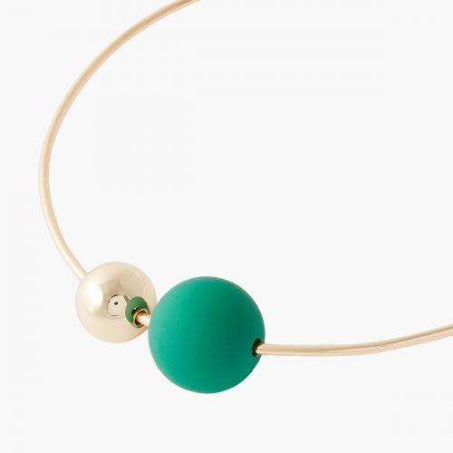 Collier court perle verte/dorée Plexi pastel