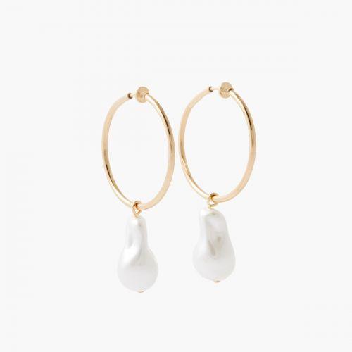 Boucles d'oreilles perles blanches Bar à clips