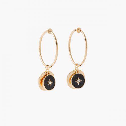 Boucles d'oreilles médailles noires Bar à clips