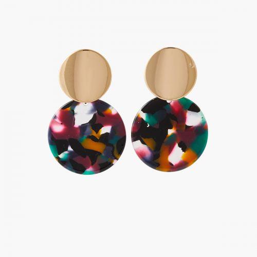 Boucles d'oreilles disques multicolores Bar à clips