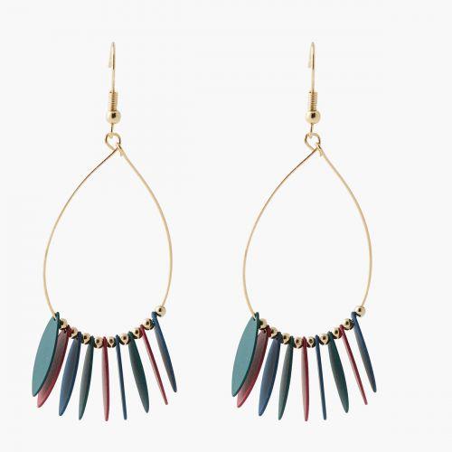 Boucles d'oreilles pendantes multicolores Paris with love