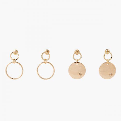 Set de boucles d'oreilles pendantes doré Basic Nude