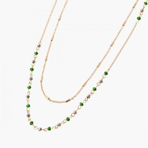 Sautoir perles vertes Green