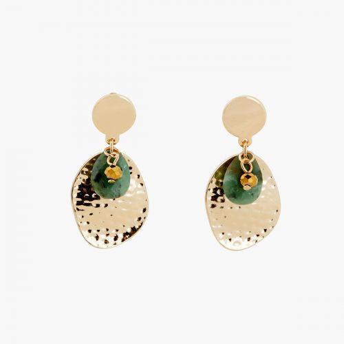 Boucles d'oreilles pendantes vertes Lucky stone