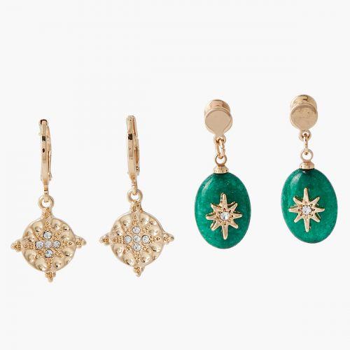 Set de boucles d'oreilles pendantes vert/doré Lucky stone