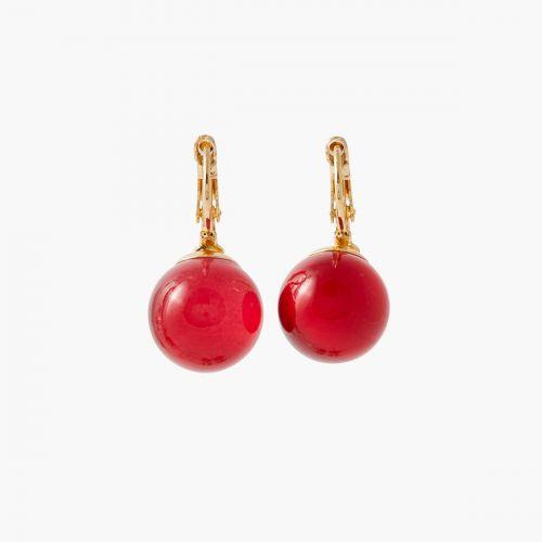 Boucles d'oreilles perles rouges Paris with love