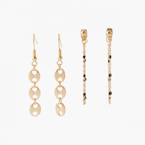Boucles d'oreilles pendantes dorées Paris with love