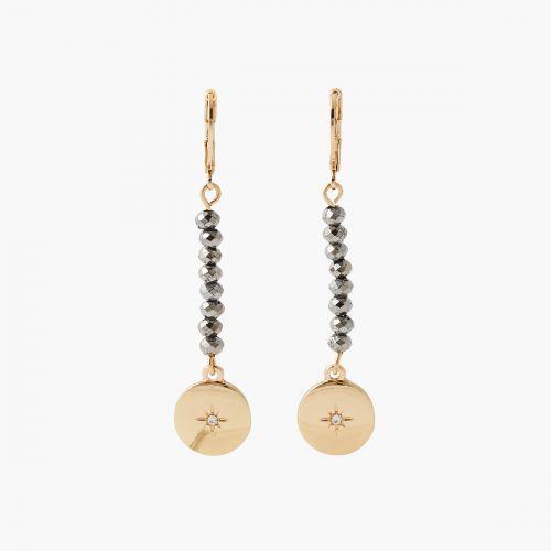 Boucles d'oreilles perles et médaille Celestial