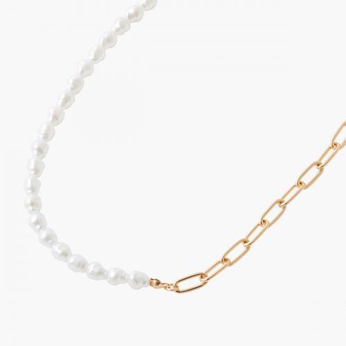 Collier perles d'imitation et chaine New pearl