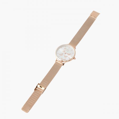 Montre papillons rose gold