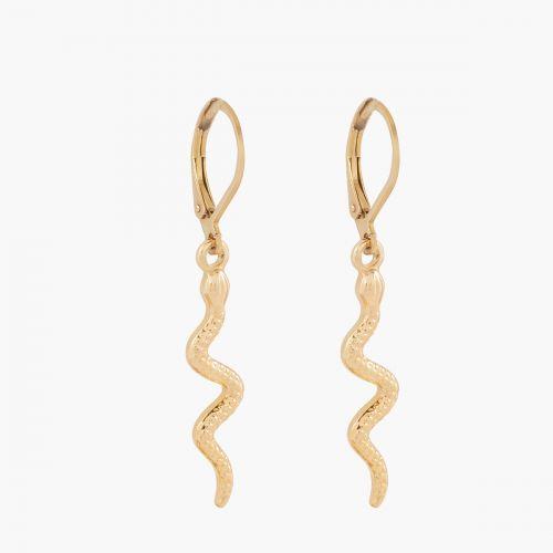 Boucles d'oreilles serpent dorées Acier Inoxydable