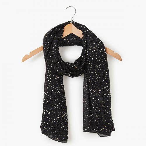 Foulard noir plissé imprimé foil