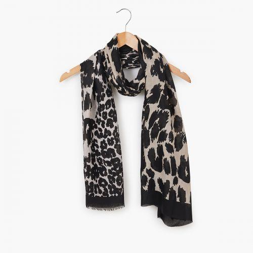 Foulard imprimé léopard bicolore