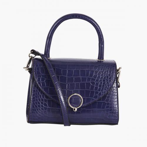 Petit sac à main violet effet croco