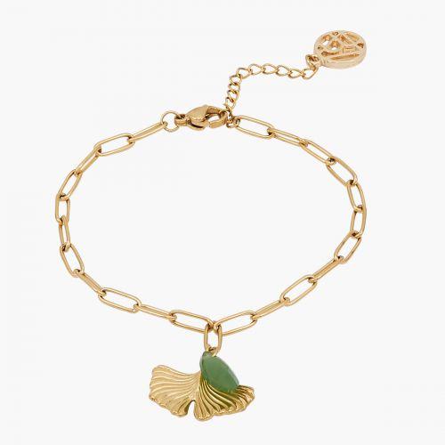 Bracelet doré ginkgo Acier Inoxydable