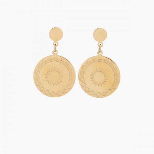 Boucles d'oreilles médailles gravées dorées Acier Inoxydable