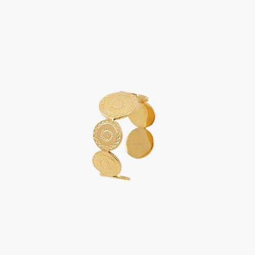 Bague médaille gravée dorée Acier Inoxydable