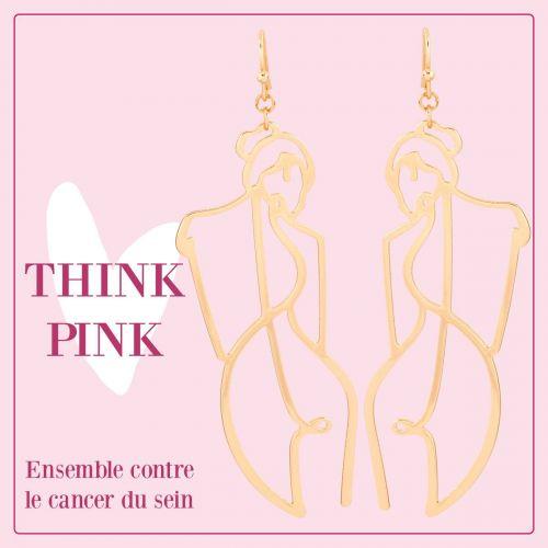 Boucles d'oreilles silhouettes dorées Octobre rose