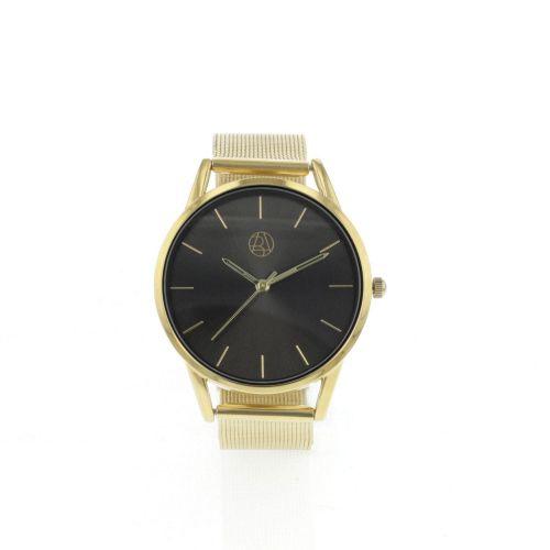 Montre bracelet milanais doré cadran noir