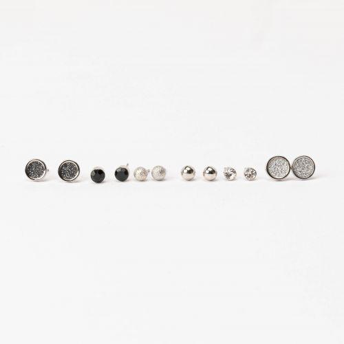 Set de puces d'oreilles noir Silver touch