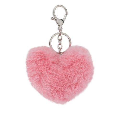 Porte-clé fourrure cœur rose