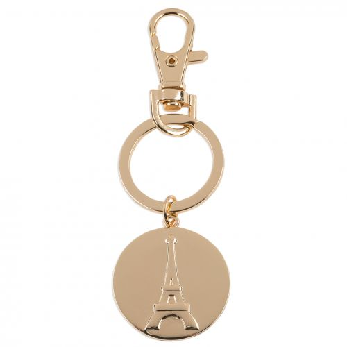 Porte-clé médaille dorée Tour Eiffel