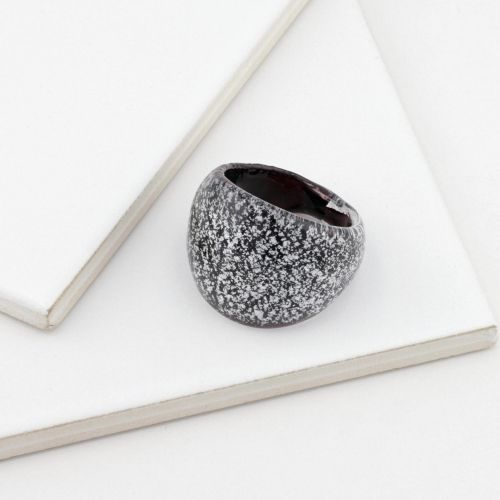 Grosse bague noire Silver touch
