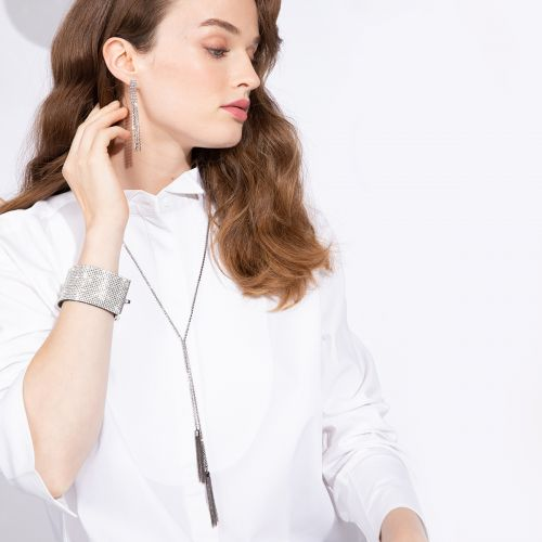 Sautoir cravate hématite strass et pompons chaînettes : Balaboosté bijoux fantaisie et accessoires tendance.