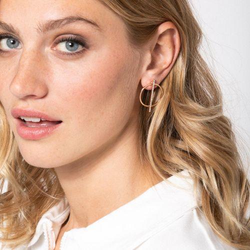 Boucles d'oreilles rondes Neo Precious argentées et strass