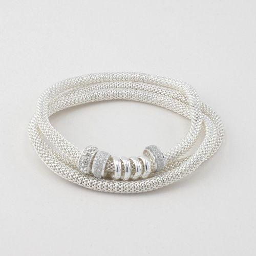 Set de bracelets fins argenté Silver touch