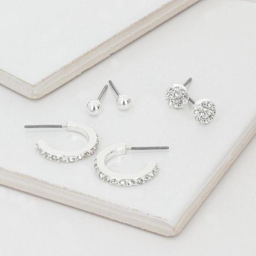 Set de puces d'oreilles argenté Silver touch
