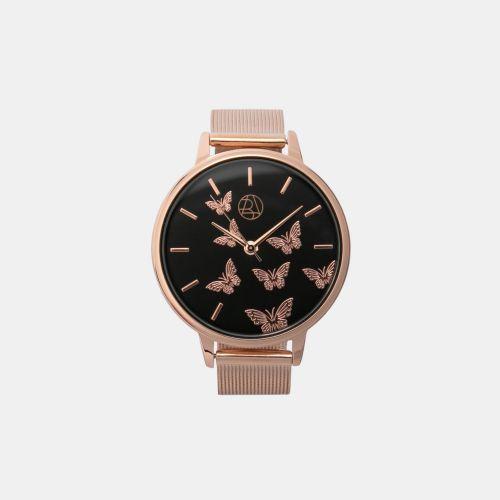 Montre cadran papillons et bracelet maille milanaise rose gold