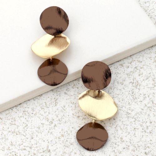 Boucles d'oreilles pendantes dorées Neo écaille